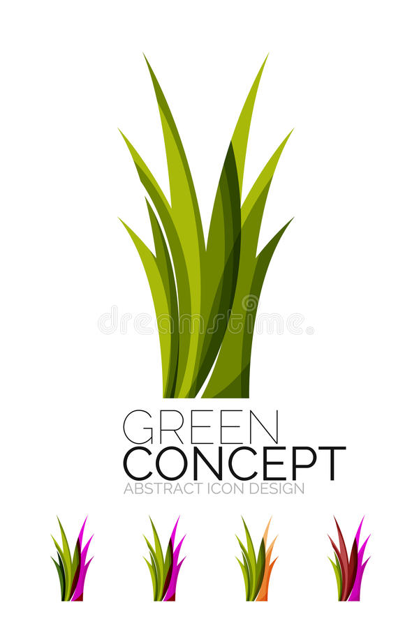 Set of abstract eco plant icons, business logotype. Nature green concepts, clean modern geometric design. Created with transparent abstract wave lines royalty free illustration