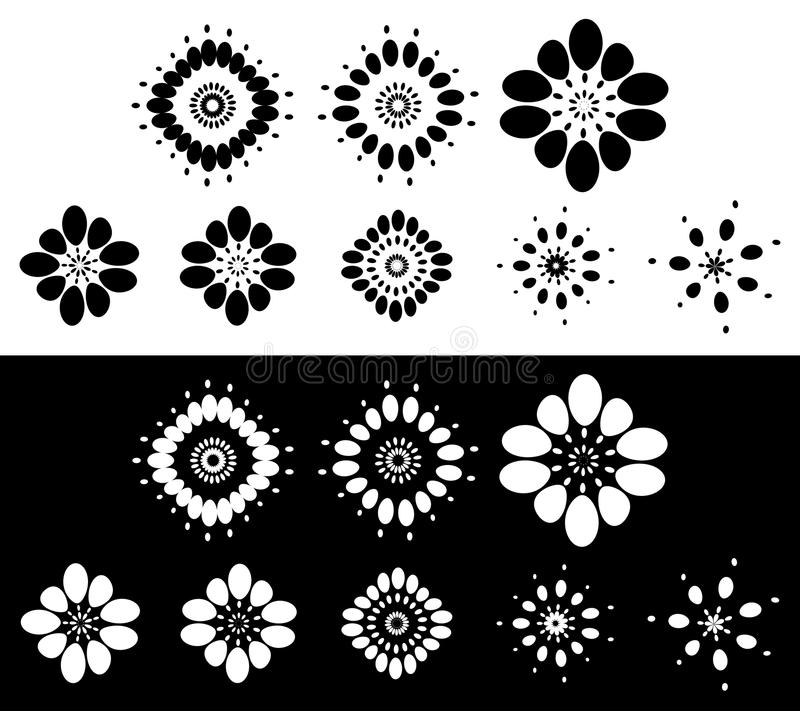 Set of 8 abstract elements, motifs - Circular, rounded element s stock illustration