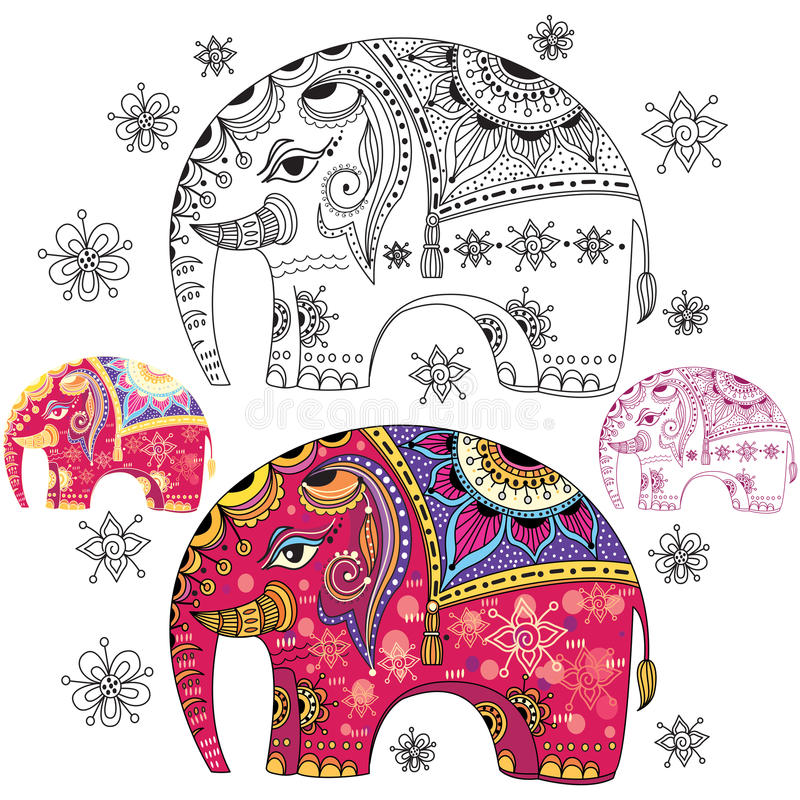 Set of abstract elephants. Set of abstract decorative elephants stock illustration