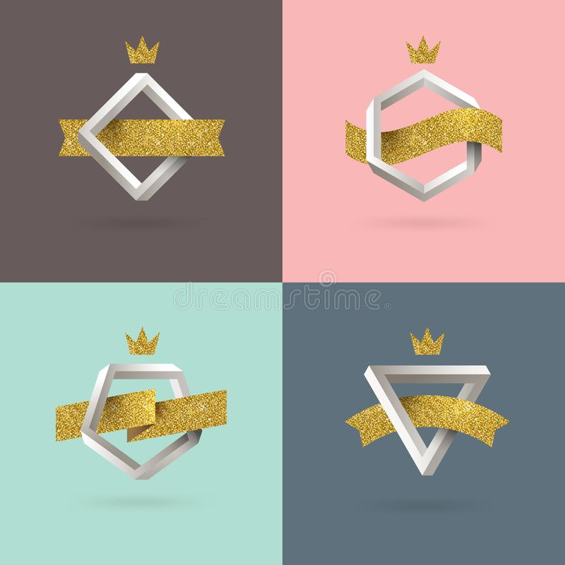 Set of abstract emblem with impossible shape royalty free illustration