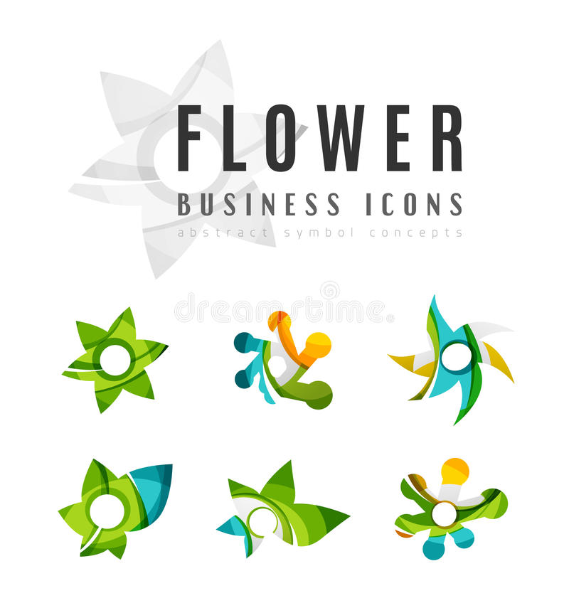 Set of abstract flower logo business icons vector illustration