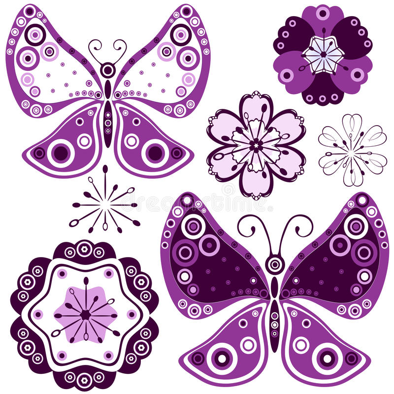 Download Set Abstract Flowers And Butterflies Royalty Free Stock Photo - Image: 13983865