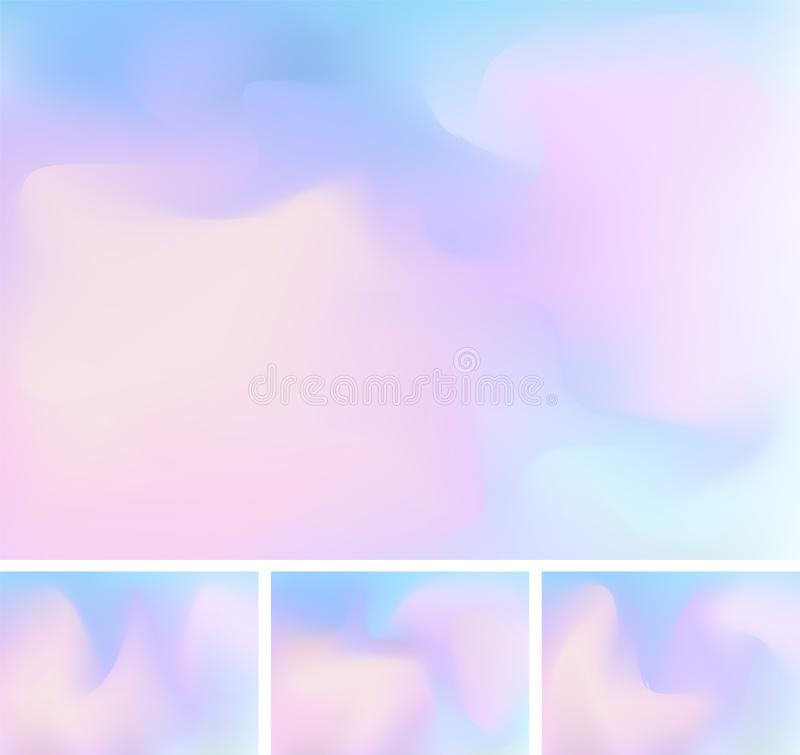 Set of abstract fluid or liquid gradient blue and pink mesh background. Stylish holographic backdrop with mesh 90s, 80s retro royalty free illustration