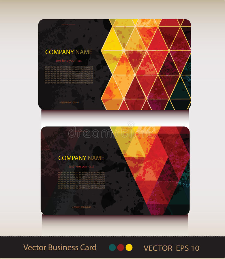 Set of abstract geometric business card royalty free illustration