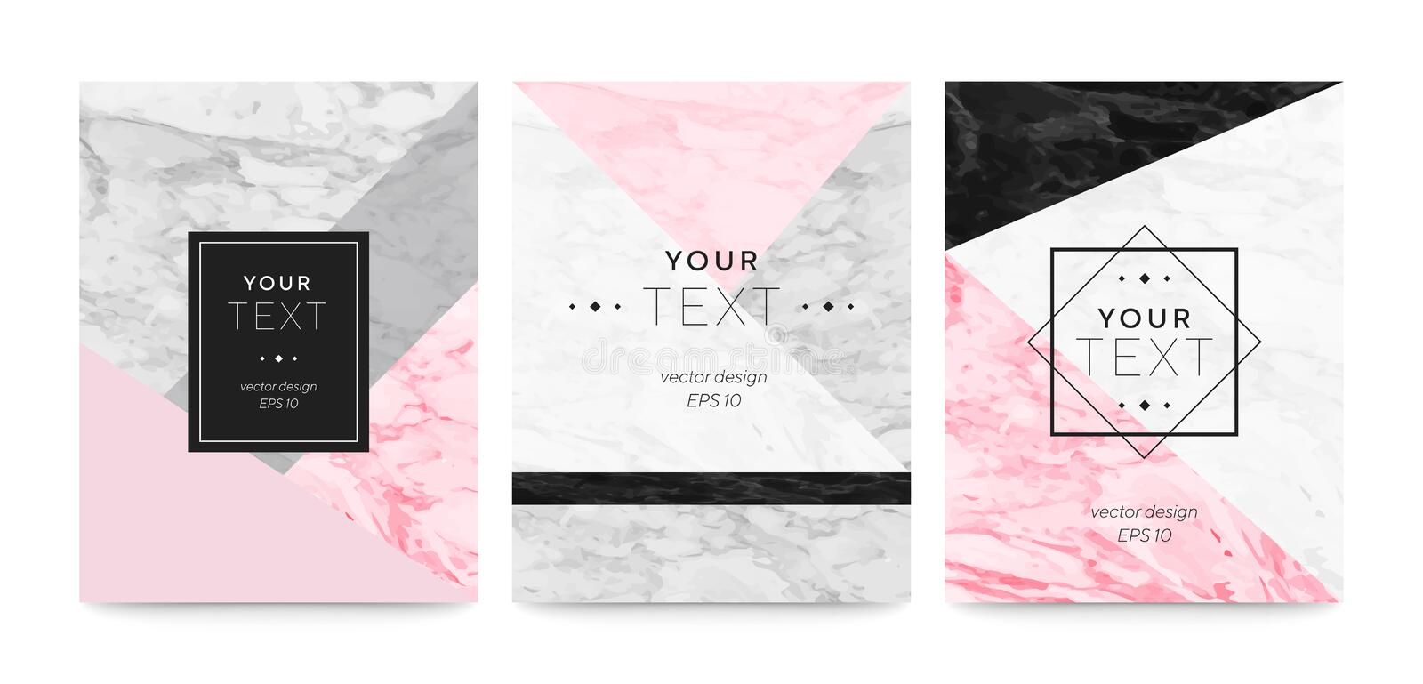Set abstract geometric designs posters cream, light grey, pastel pink and marble texture background. Vector trendy geometric poste stock illustration