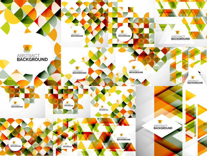 Set of Abstract Geometric Flyer Templates vector illustration