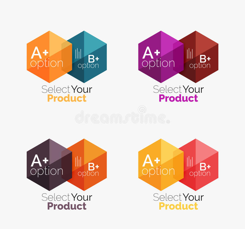 Set of abstract geometric hexagon design with options and text. Vector templates stock illustration
