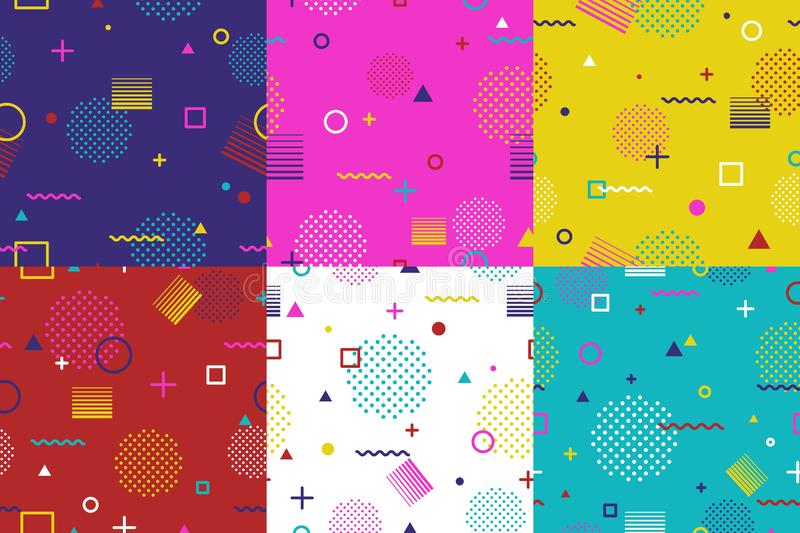 Set of abstract geometric seamless pattern in Memphis style. Fashion 80s-90s trends designs, Retro funky graphic with stock images