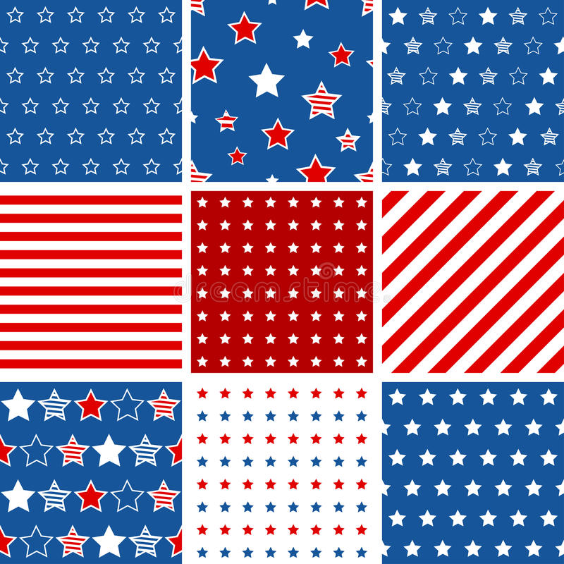 Set of 9 abstract geometric seamless pattern with stars and stripes vector illustration