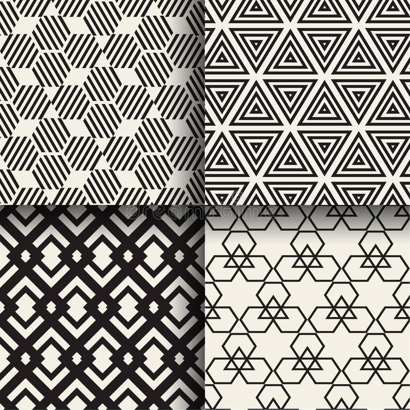 Set of abstract geometric seamless patterns vector illustration