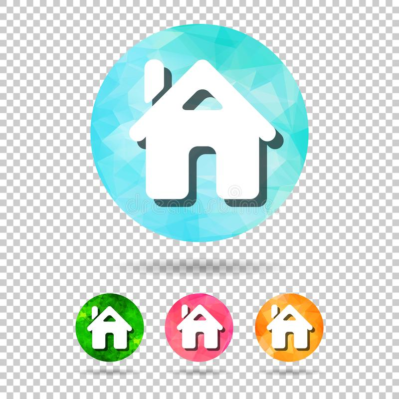 Set of abstract geometric spherical home icons from triangular faces for graphic design. Architecture, minimal, minimalism, flat, lay, pastel, pink, collection stock illustration