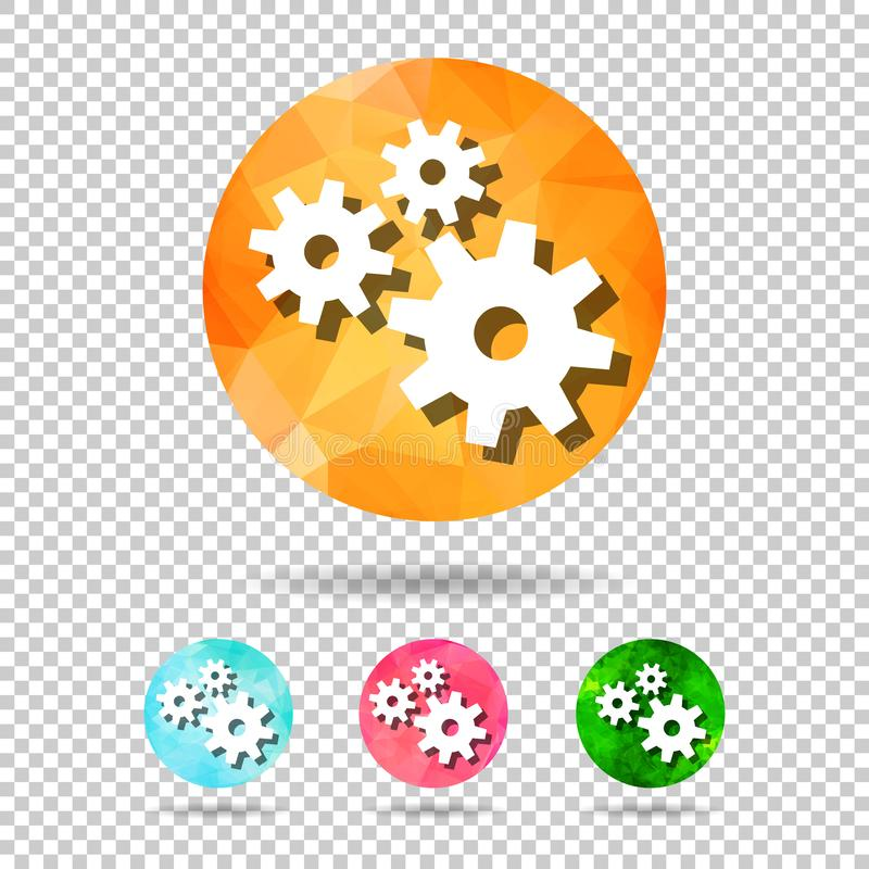 set of abstract geometric spherical icons with gears from triangular faces for graphic design vector illustration