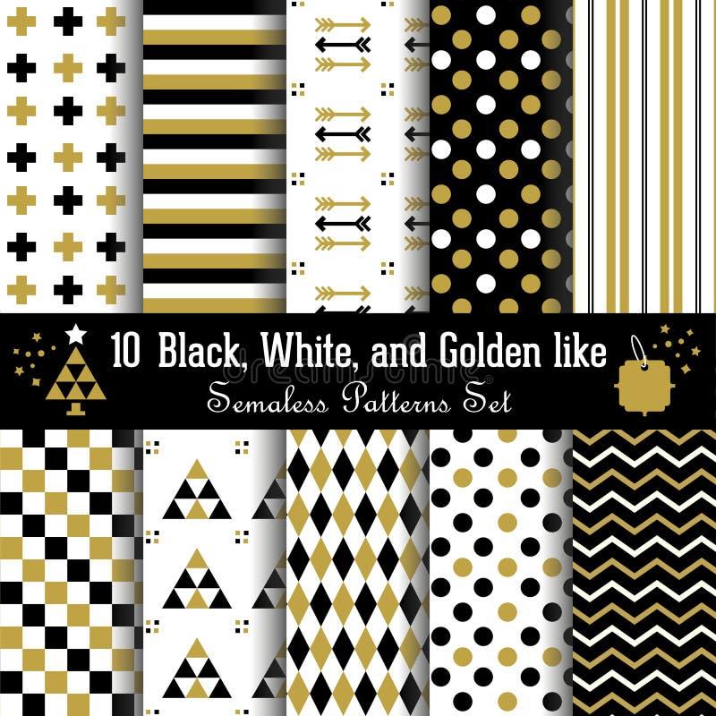 Set of abstract geometrical Aztec seamless patterns. Set of 10 different abstract geometrical Aztec seamless patterns