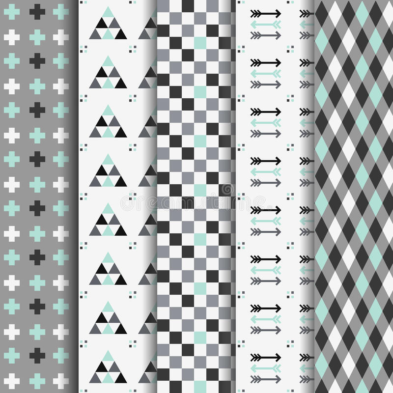 Set of abstract geometrical Aztec seamless patterns vector illustration