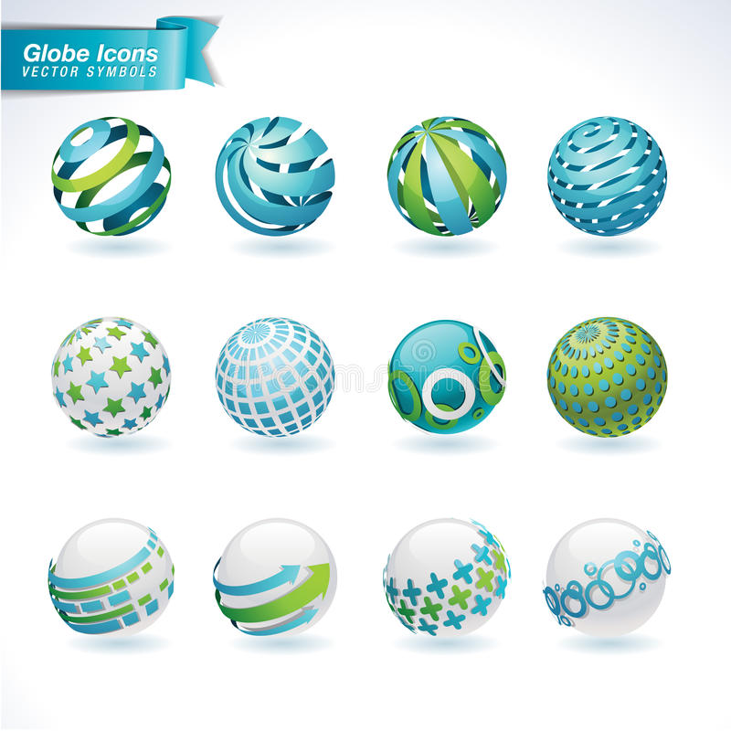Set of abstract globe icons vector illustration