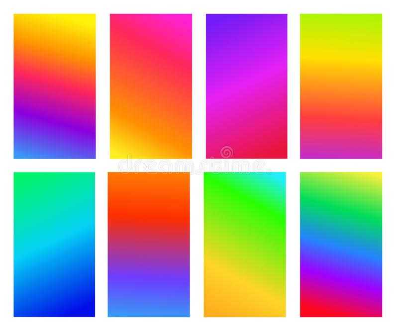 Set of abstract gradient colored background. Soft mixing colors. Vector illustration. Isolated on white background.  vector illustration