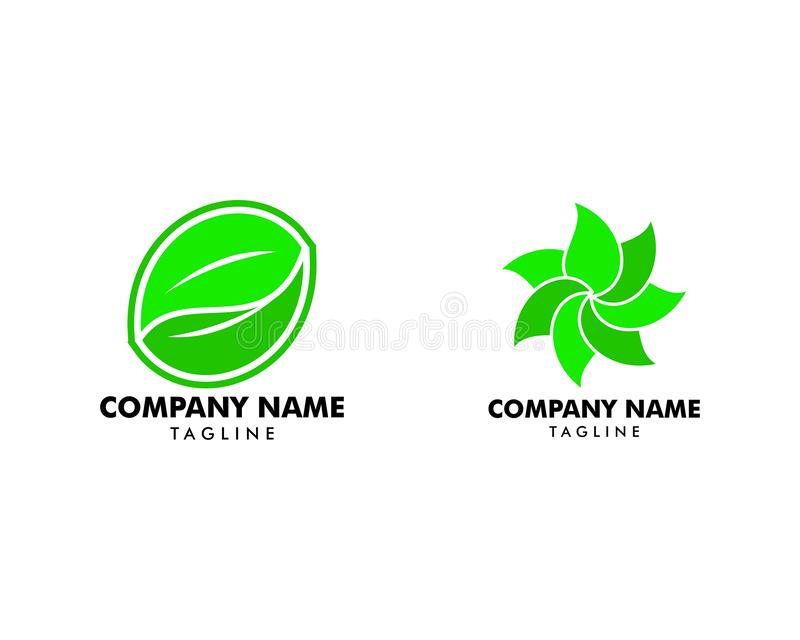 Set of Abstract green leaf logo icon vector design stock illustration