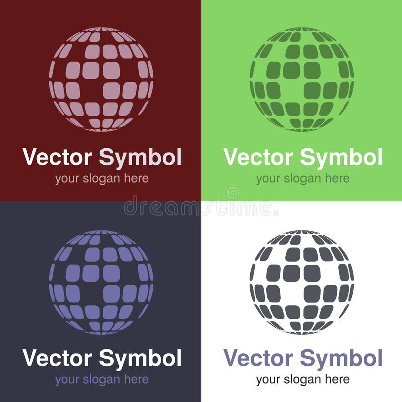 Set of abstract green, red, blue and black white logo globe design, emblems for internet connection or web - circles, rounded. Symbols - illustration royalty free illustration