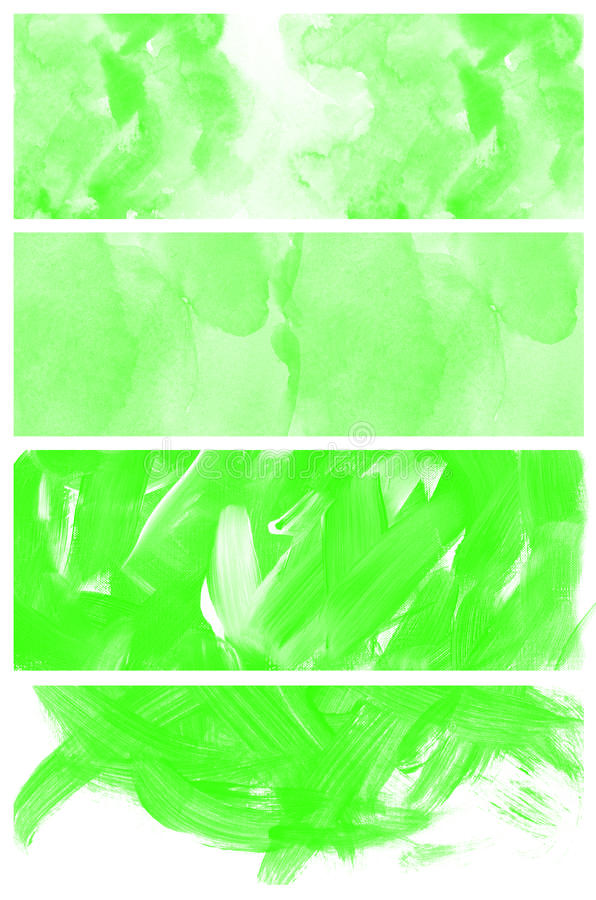 Download Set Of Abstract Green Watercolor Hand Painted Stock Illustration - Image: 25996611