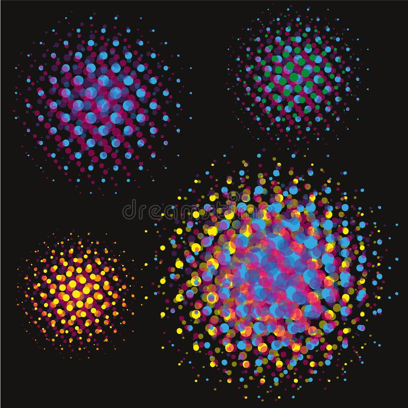 Set of Abstract Halftone Circles backgrounds, vector illustration globes in colorful dots on black background. Set of Abstract Halftone Circles Logo, vector vector illustration