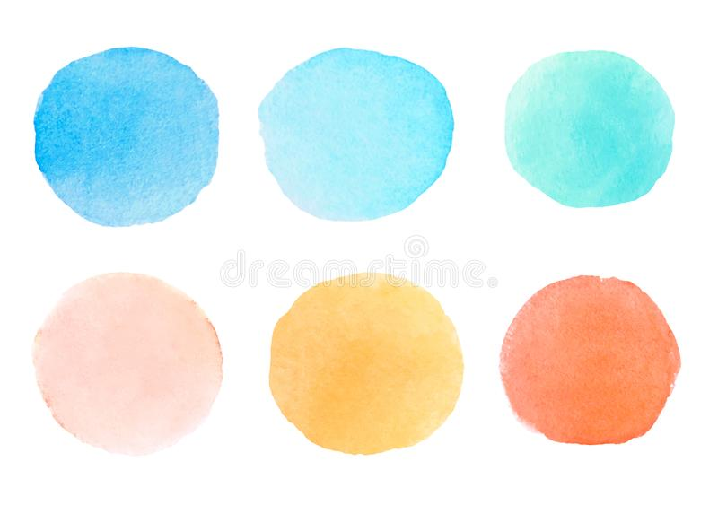 A set of abstract hand drawn watercolor grungy brush strokes. stock images