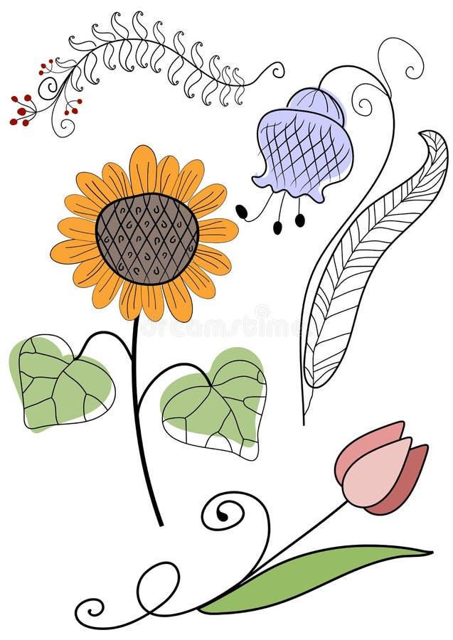 Download Set Abstract Handwork Flowers Stock Vector - Illustration: 14371442