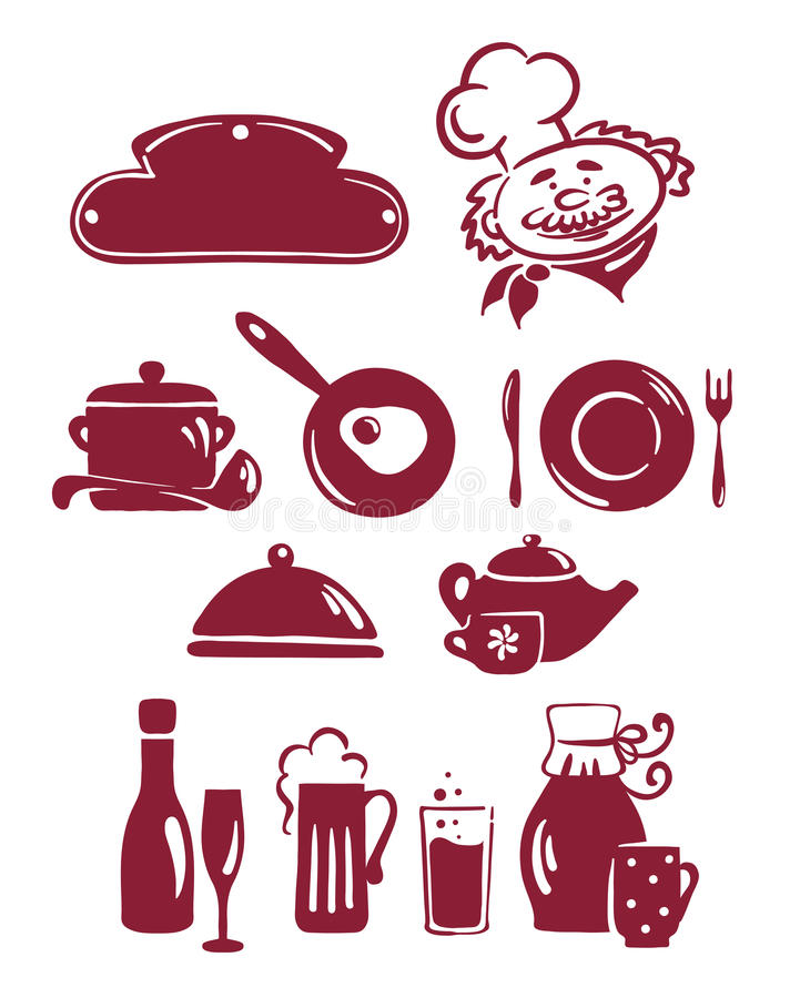 A set of abstract icons - the food and utensils royalty free illustration