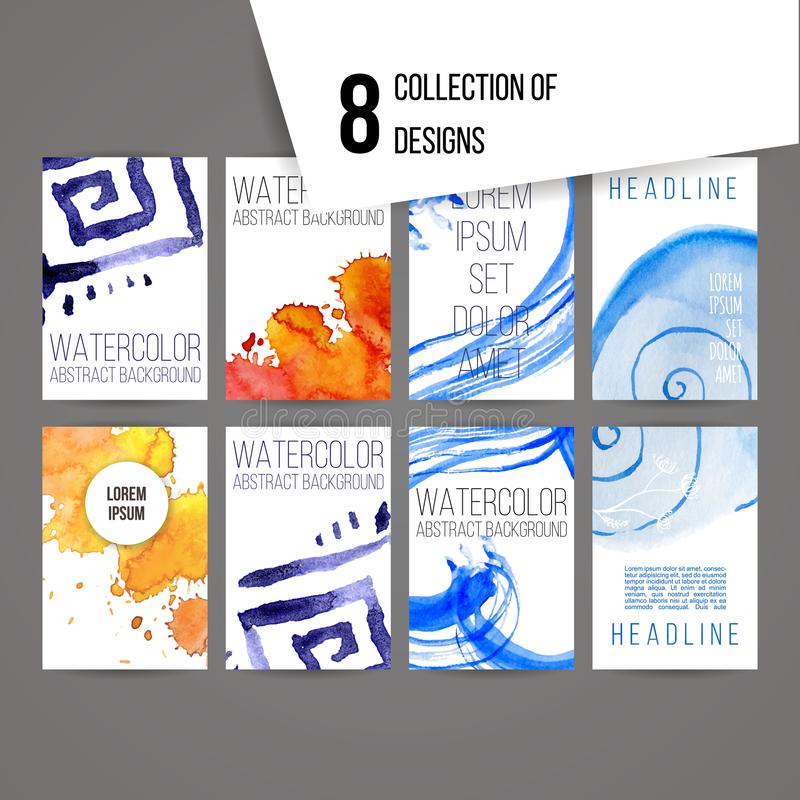 Set of abstract ink and splashes designs stock illustration