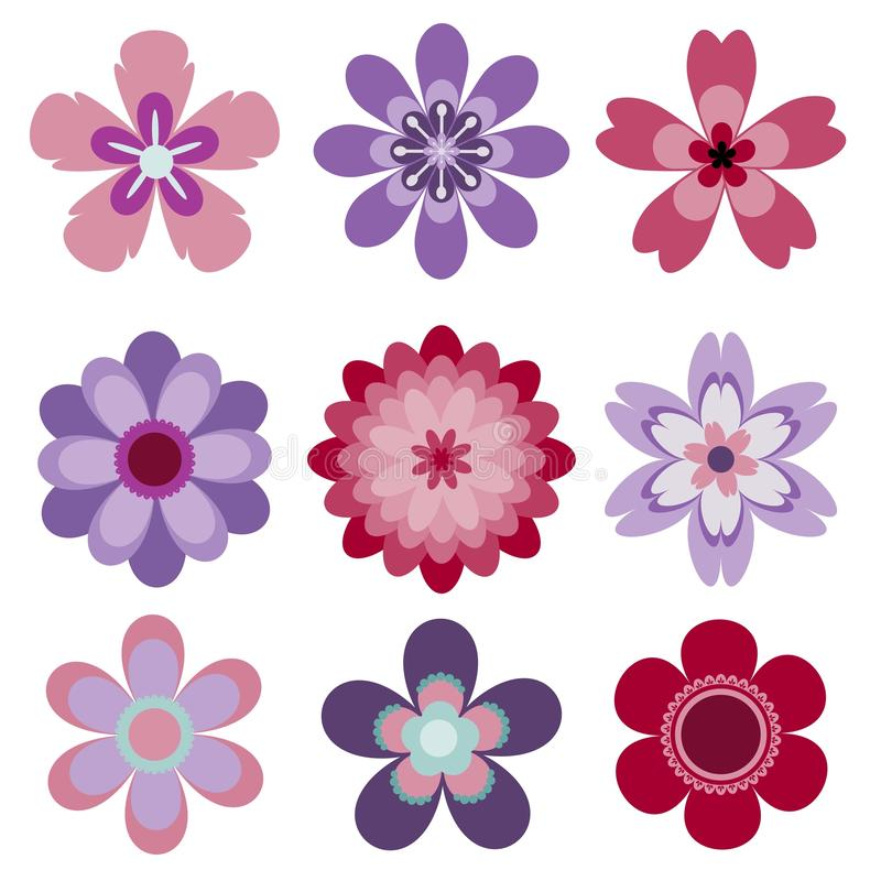 Set of 9 abstract isolated vector flowers vector illustration