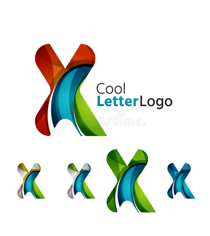 Set of abstract X letter company logos. Business vector illustration