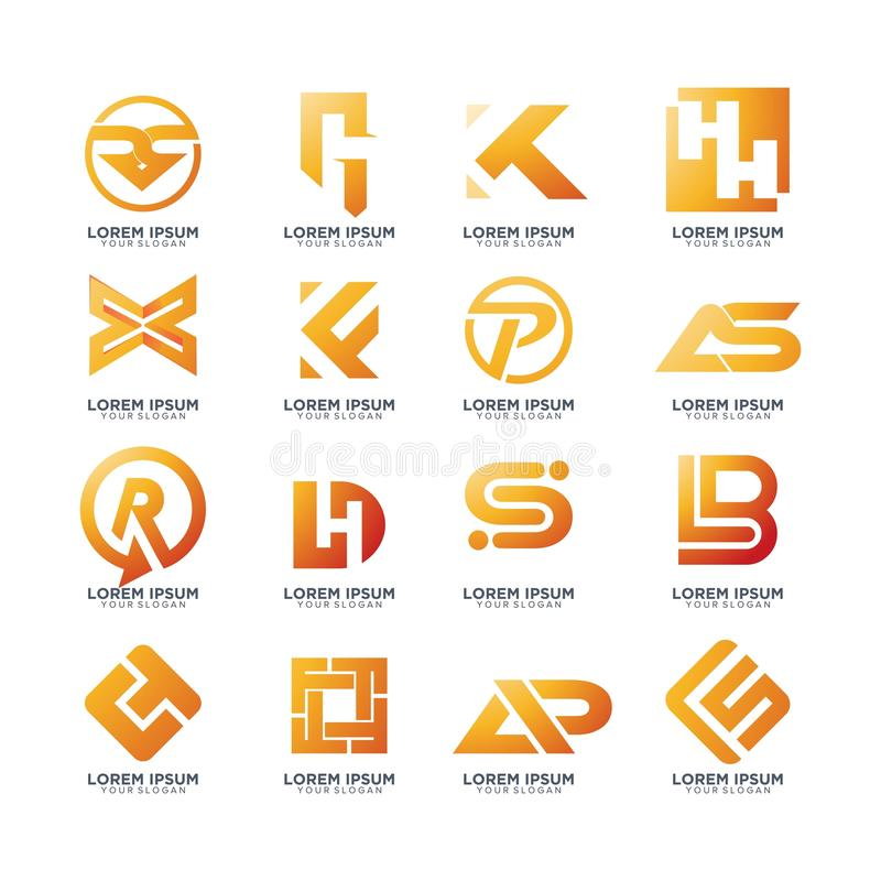 Set of abstract letter logo collection. Isolated stock illustration