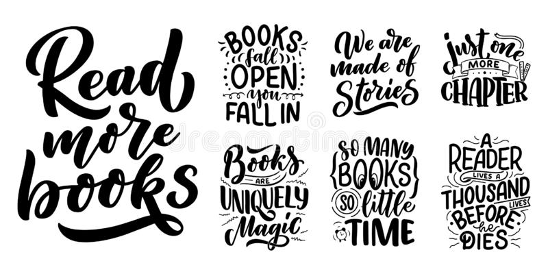 Set with abstract lettering about books and reading for poster design. Handwritten letters. Typography funny quotes. Vector. Illustration stock illustration