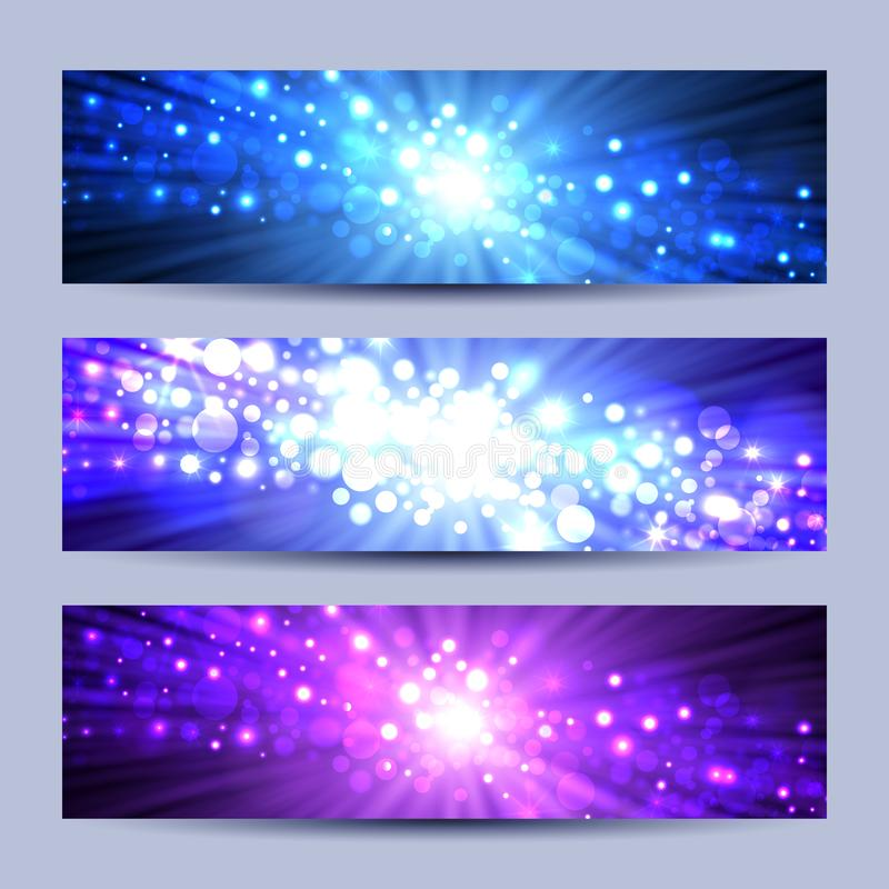 Set of abstract lights backgrounds royalty free illustration
