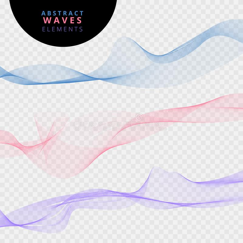 Set of abstract lines waves on transparent background. royalty free illustration