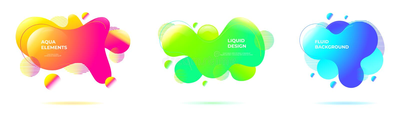 Set of abstract liquid backgrounds. Geometric fluid shapes and organic forms with vivid color blends in neon tones royalty free illustration