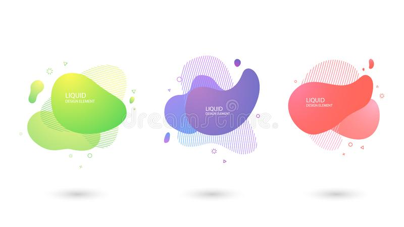 Set of Abstract liquid shape, Fluid design. Dynamical colored forms and line. Gradient abstract banners with  liquid shapes. Template for the design of a logo stock illustration