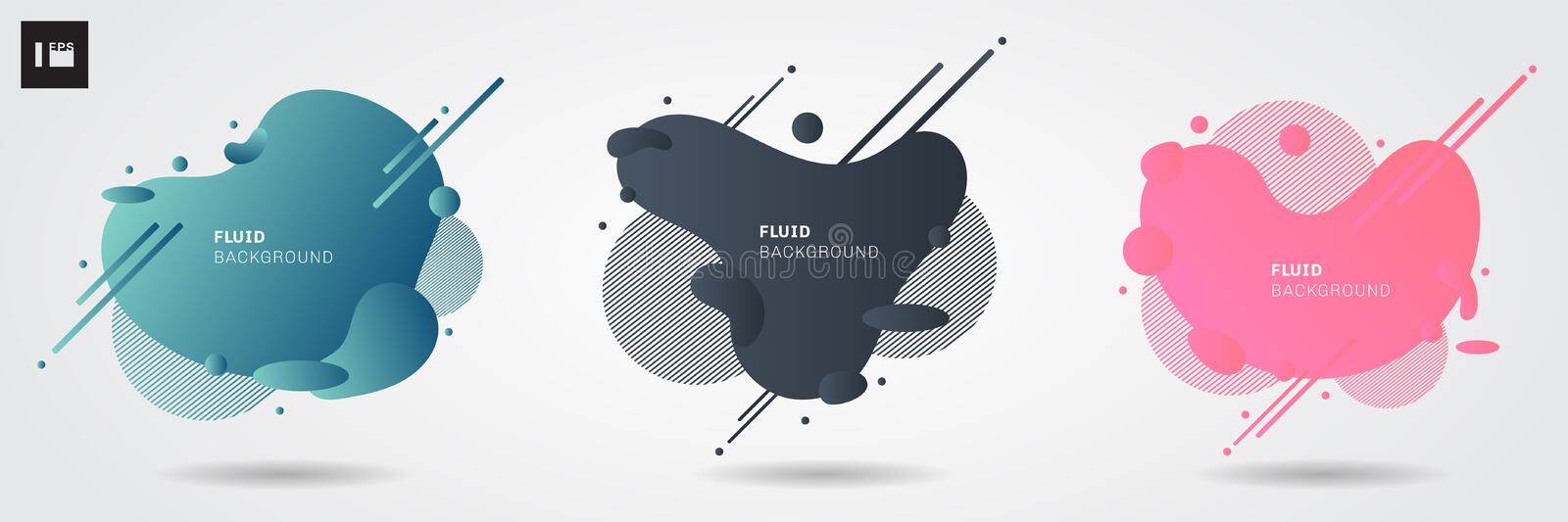 Set of abstract liquid shape modern graphic elements on white background. Gradient banners web flowing fluid shapes. You can use for template design of a logo stock illustration