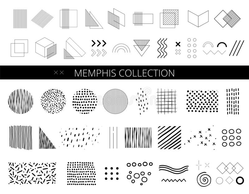 Set of abstract memphis shapes. Design Elements. Retro fashion 80s and 90s print pattern texture. Geometric style. royalty free illustration