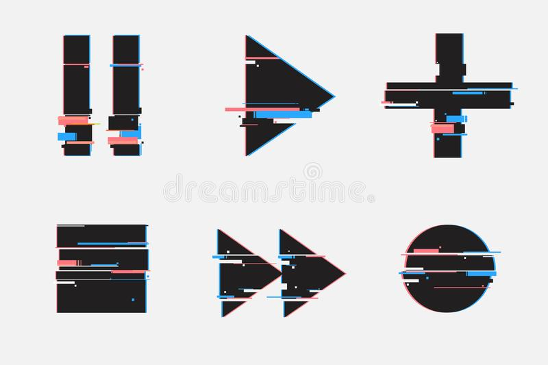 Set of abstract minimal template design for branding, advertising in geometric glitch style.Play, pause, record, play buttons. stock illustration