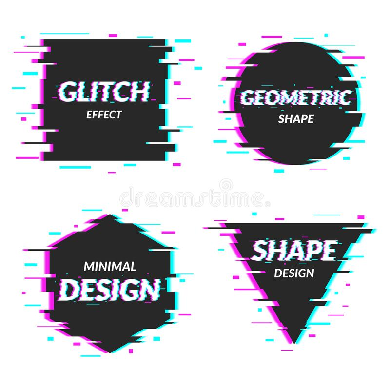 Set of abstract minimal template design in geometric glitch style. Trendy abstract covers. Futuristic design posters vector illustration