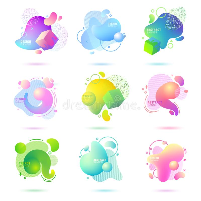 Set of abstract, modern, fluid, trendy gradient banner. Dynamical colored forms with lines, flowing liquid shapes and 3D elements. Template for design of a vector illustration