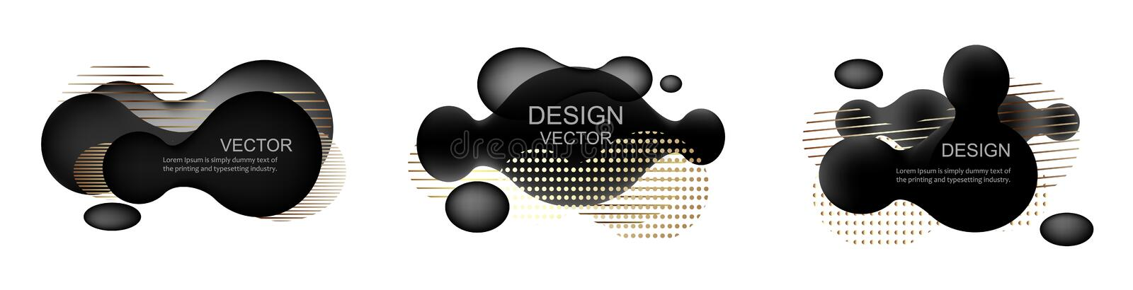 Set of abstract modern graphic elements. Dynamical black gold forms and line. Template for the design of a logo, flyer stock illustration