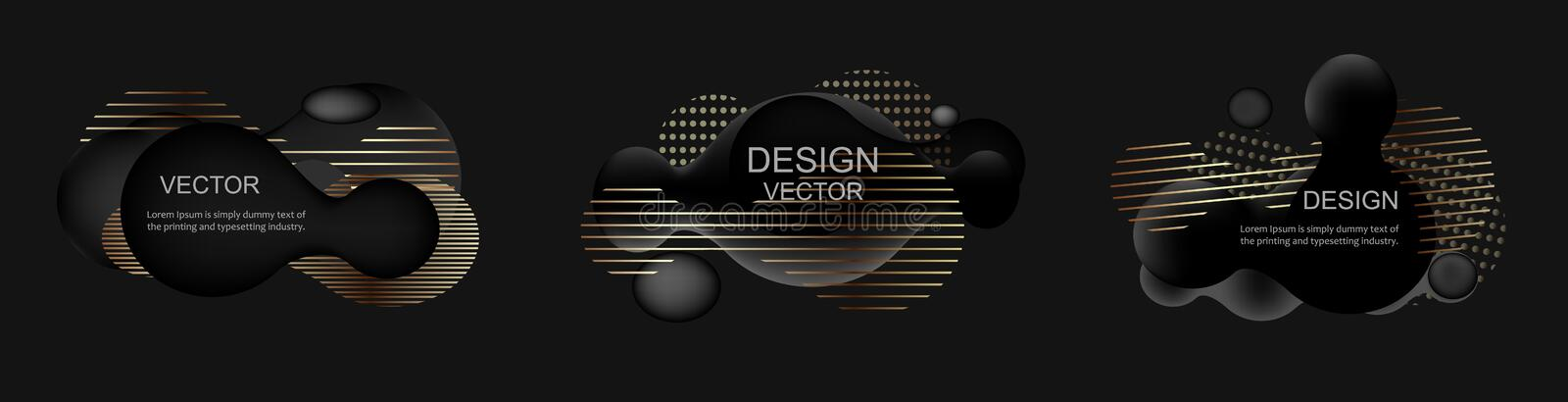 Set of abstract modern graphic elements. Dynamical black gold forms and line. Template for the design of a logo, flyer royalty free illustration