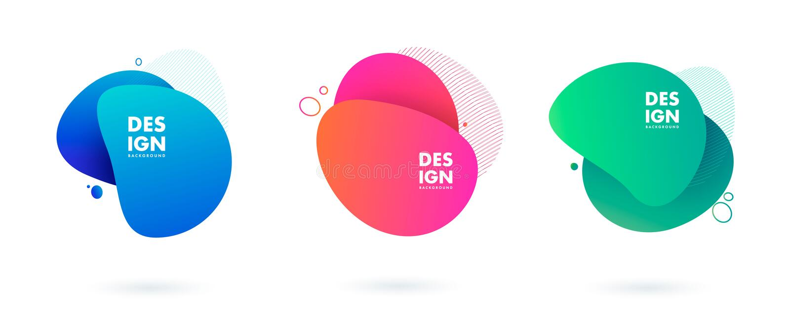 Set of abstract modern graphic elements. Dynamical colored forms and line. Gradient abstract banners with flowing liquid stock illustration