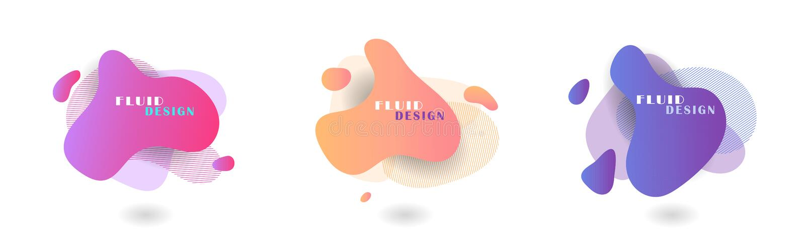 Set of abstract modern graphic elements.Fluid color abstract geometric shapes. Abstract background. stock photography