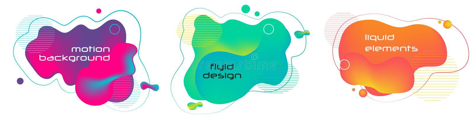 Set of liquid color abstract geometric shapes. Fluid gradient elements for minimal banner, logo, social post. Futuristic trendy dy royalty free illustration