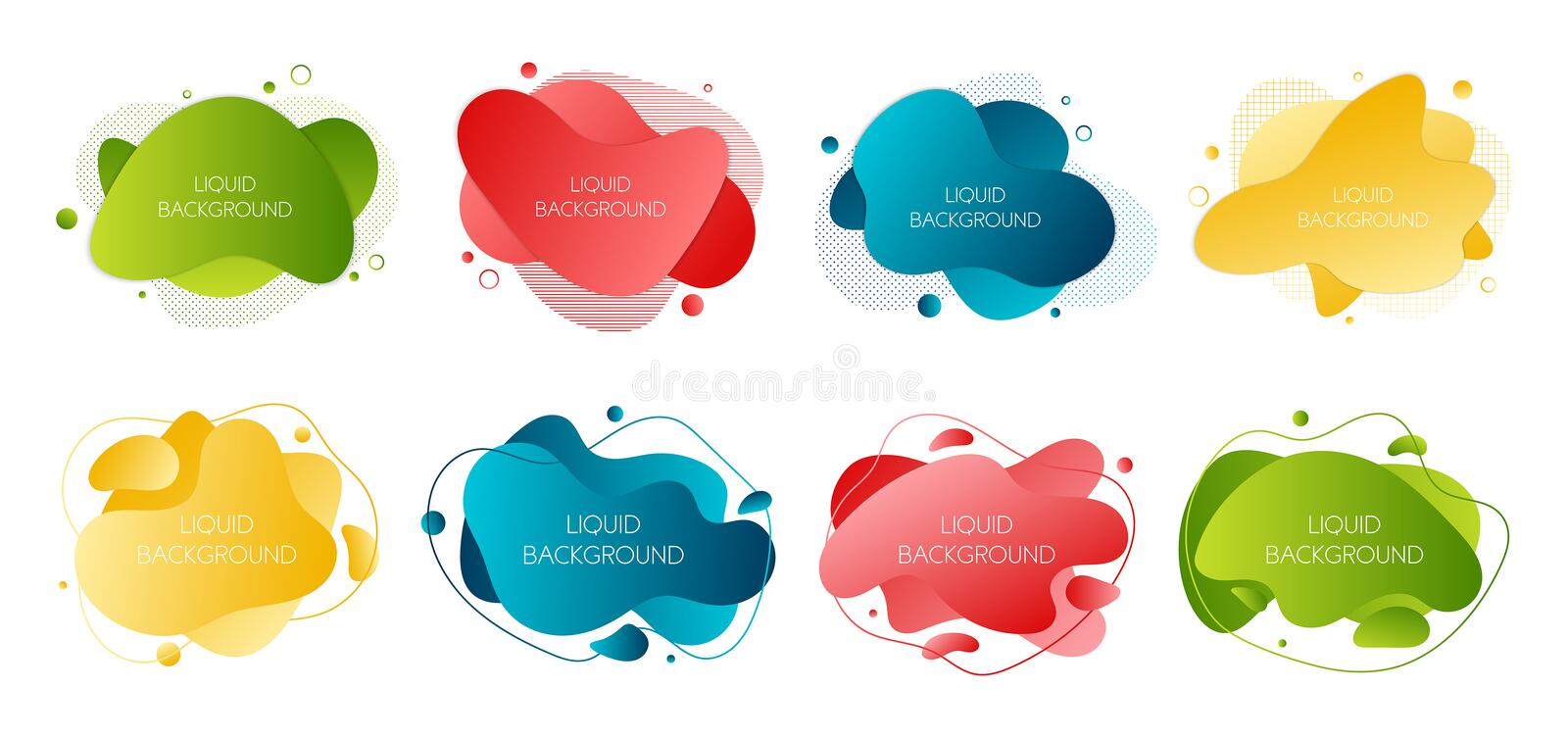 Set of 8 abstract modern graphic liquid elements. Dynamical waves different colored fluid forms. Isolated banners with flowing stock photos
