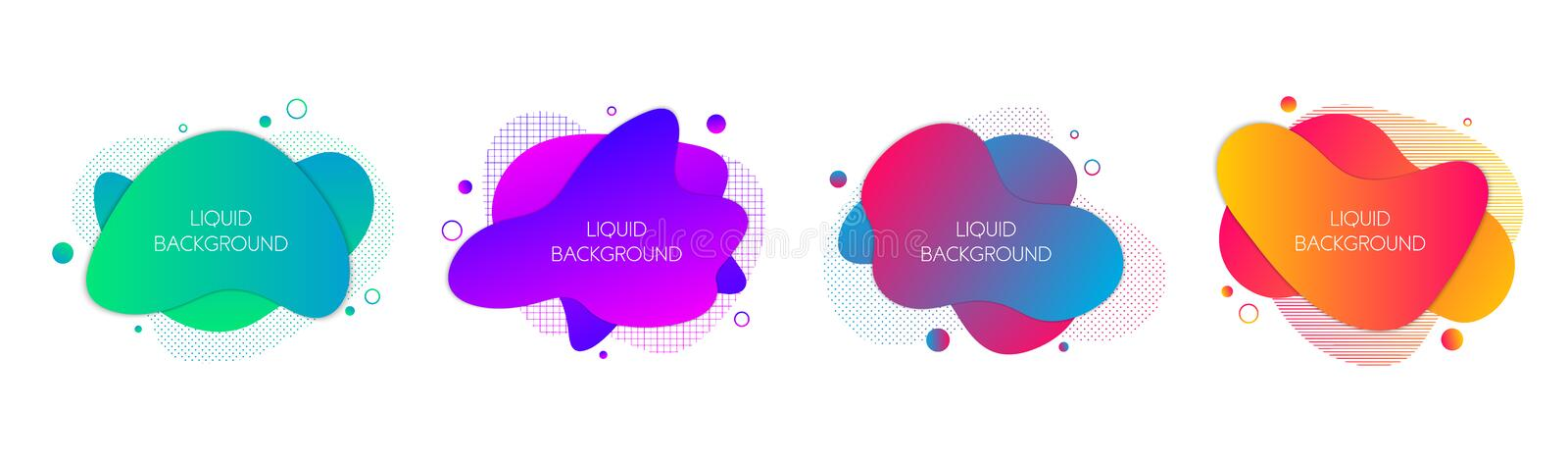 Set of 4 abstract modern graphic liquid elements. Dynamical waves vivid colors fluid forms. Isolated banners with flowing liquid vector illustration