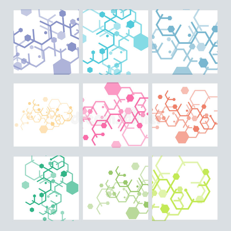 Set abstract modern pattern of hexagons circuits vector illustration