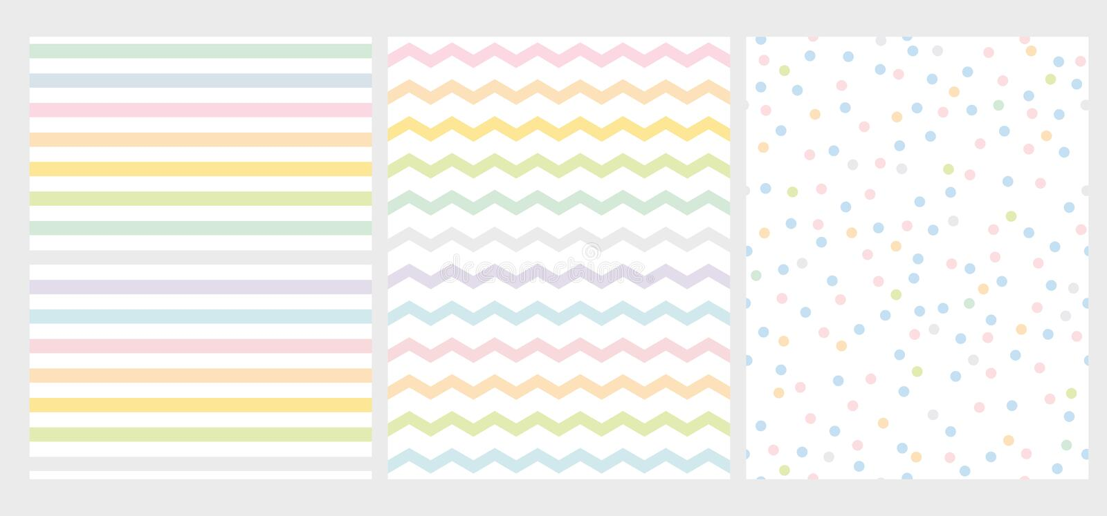 Set of 3 Abstract Multicolor Geometric Vector Pattern. Rainbow Color Art with Lines, Zigzag and Dots. stock illustration